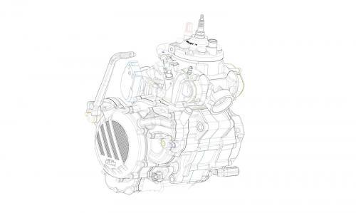 Disegno del nuovo motore KTM 2-tempi a iniezione in equipaggiamento sulla gamma MY 2018